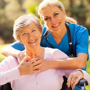 Healthcare giver huggin woman